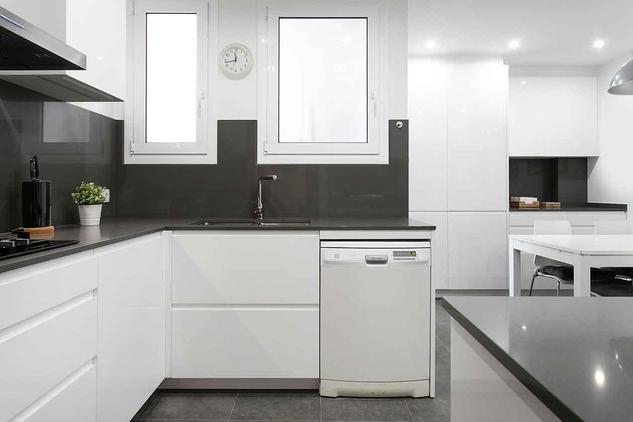 Pica, lavavajillas y ventanas de la cocina