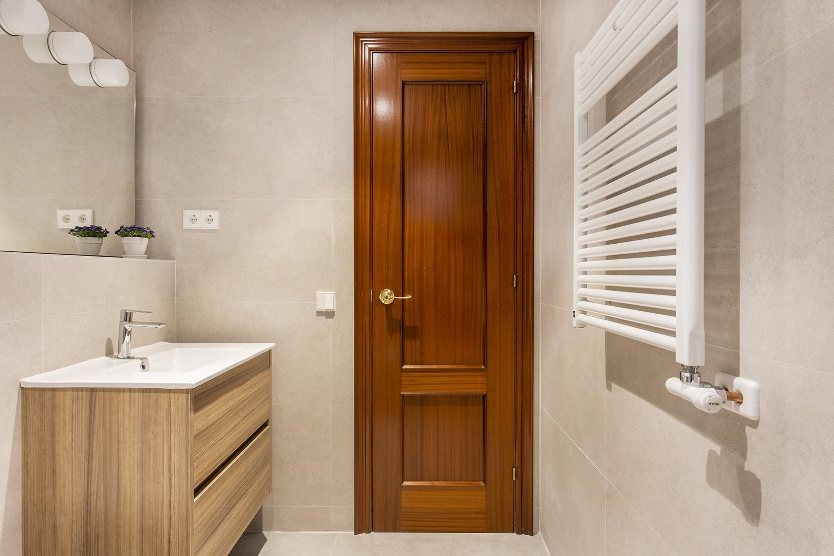 vista del baño desde dentro. Mueble, espejo y puerta.