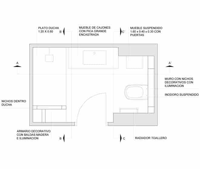 Plano reforma baño integral sant cugat