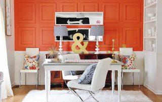 decoracion blanca y naranja