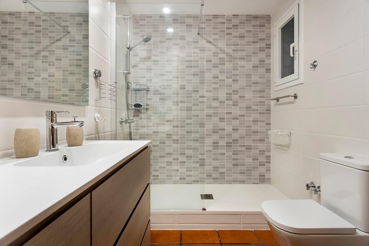 baño con plato de ducha y mosaicos
