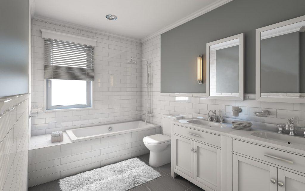 Baños en tonos gris y blanco inspiración