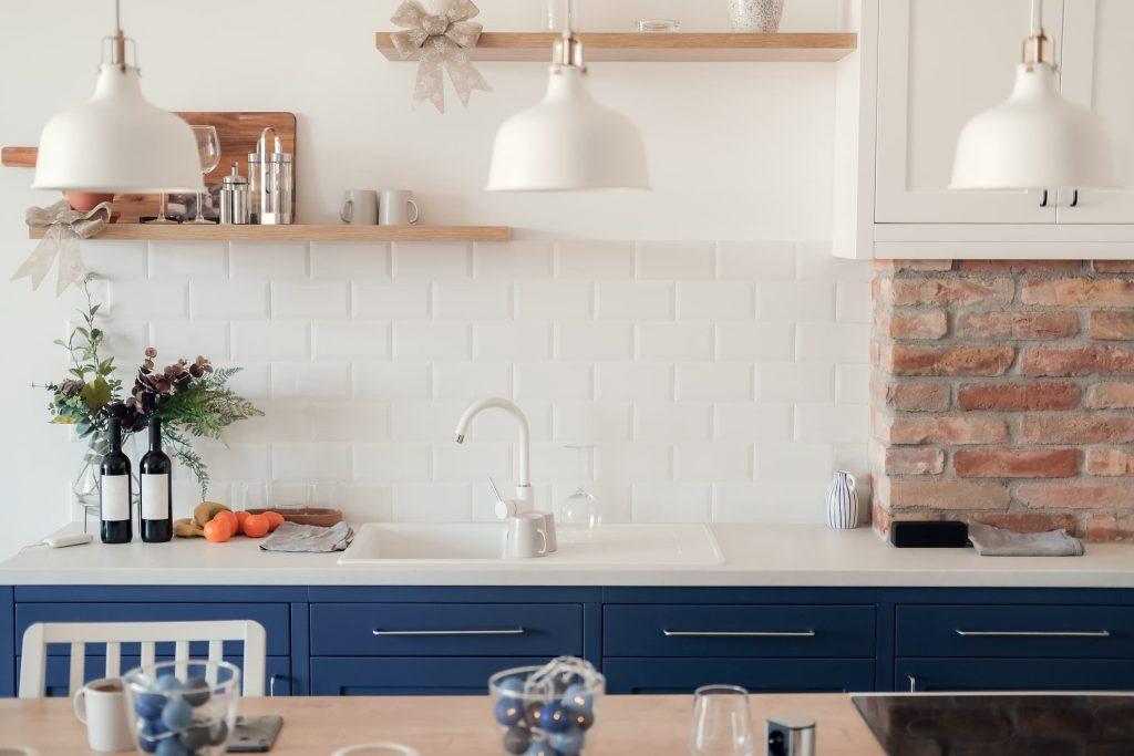 Cocinas en azul y blanco