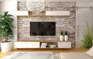 Decorar pared del salón con televisión