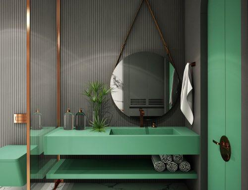 Baños en verde, ¡apuesta por el color de moda!