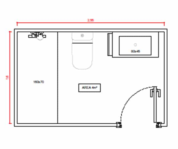 Plano distribución baño contemporáneo medio