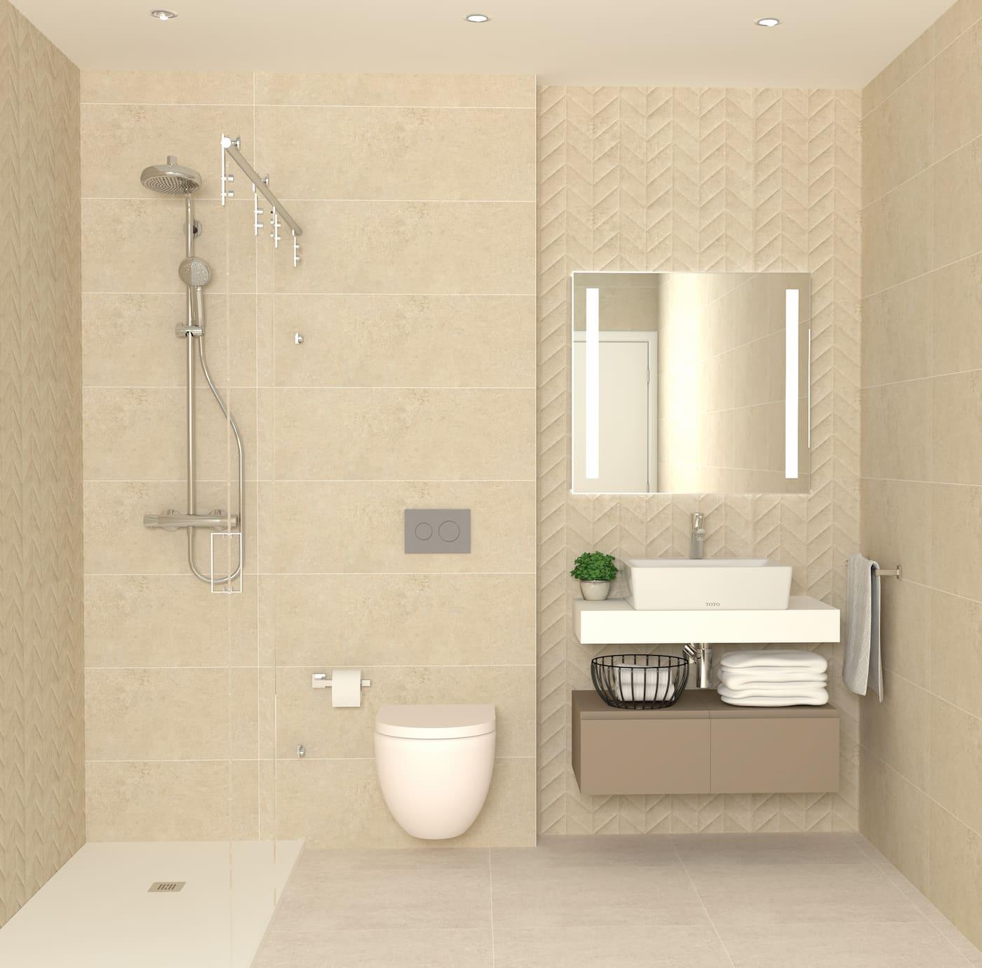 Baño contemporáneo medio beige